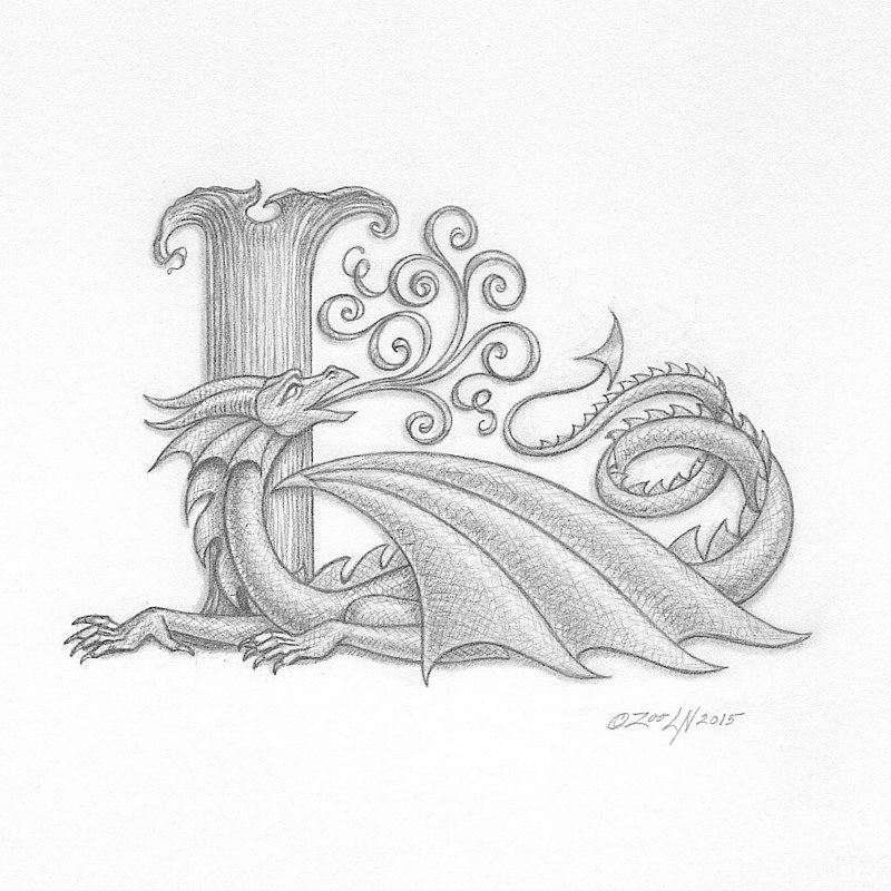 "Acrylic painting Dracoserific ""L""- 2.0, graphite by Sue Ellen Brown"
