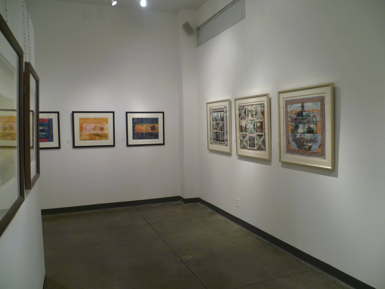 Installation of 3 Travel Stories quilts at Seymour Art Gallery by Julie Mcintyre