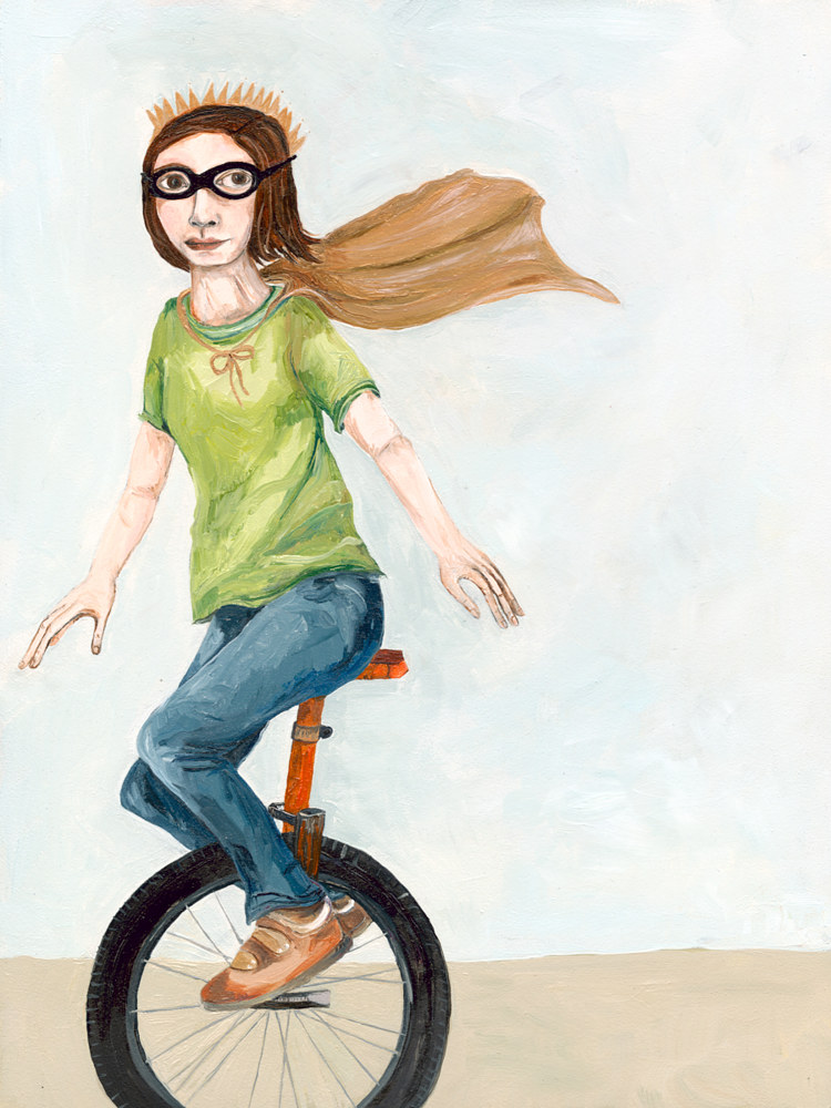 Oil painting A Girl on a Unicycle by Katherine Bennett