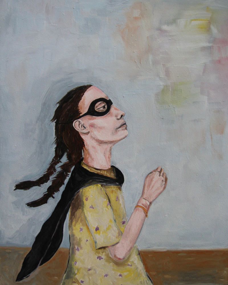Oil painting A Girl with a Message by Katherine Bennett