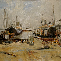 Oil painting The Repair Yard by Nella Lush