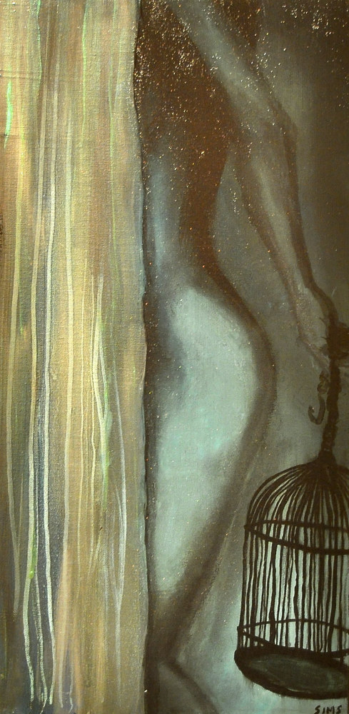Acrylic painting Woman with Birdcage by Meghan Sims