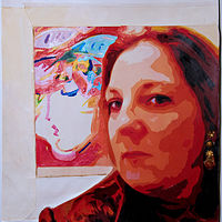 Acrylic painting Selfie & The Blushing Beauty by Dawn Reilly