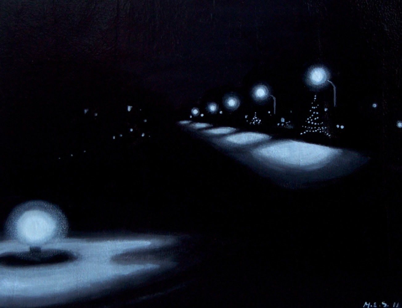 Acrylic painting Quiet December Street by Meghan Sims