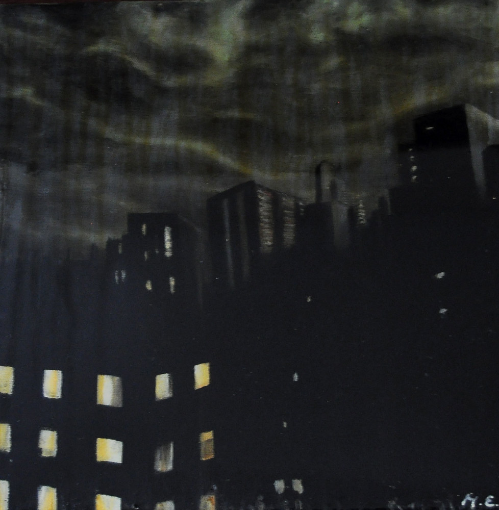 Oil painting Stormy Chicago Town by Meghan Sims