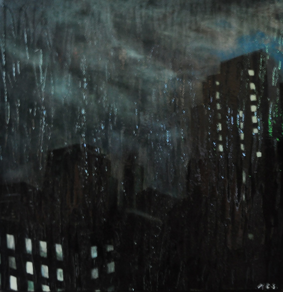 Oil painting Stormy Chicago Town, 2 by Meghan Sims