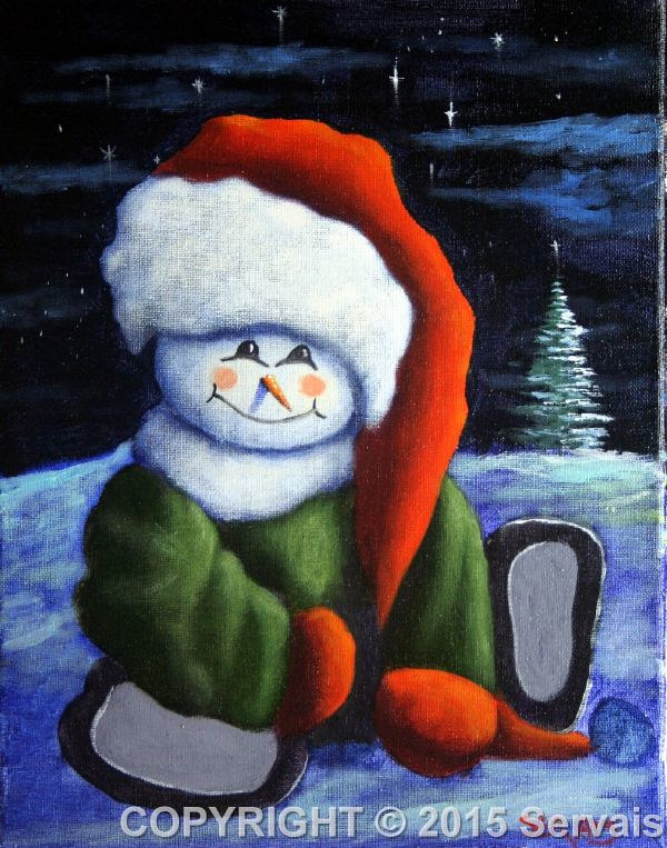 Acrylic painting Snowboy by George Servais