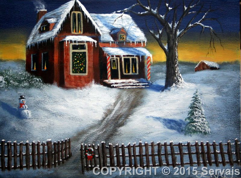 Acrylic painting A Christmas Card by George Servais