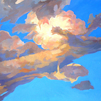 Oil painting Exploding cloud  by Guntis Jansons