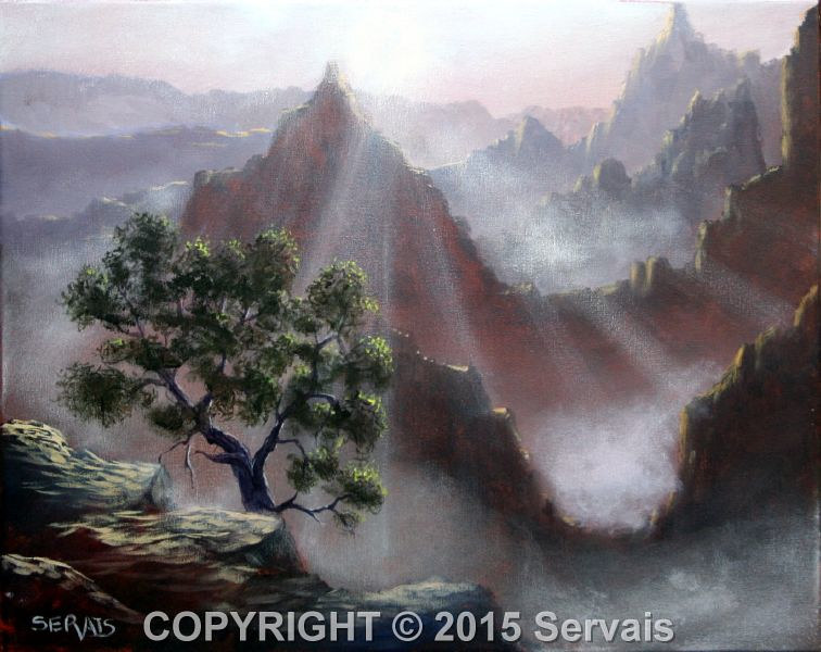 Acrylic painting Canyon Sunrise by George Servais