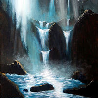Acrylic painting Moonlight Falls by George Servais
