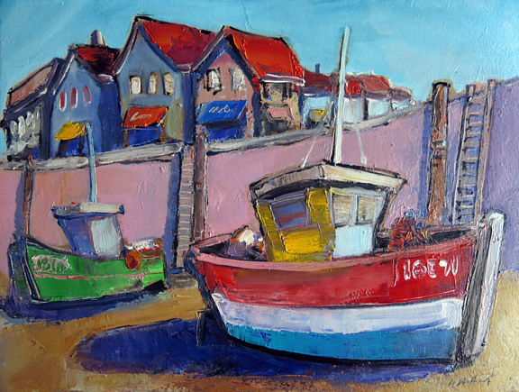 Oil painting Red boat in Harbor by Allen  Wittert