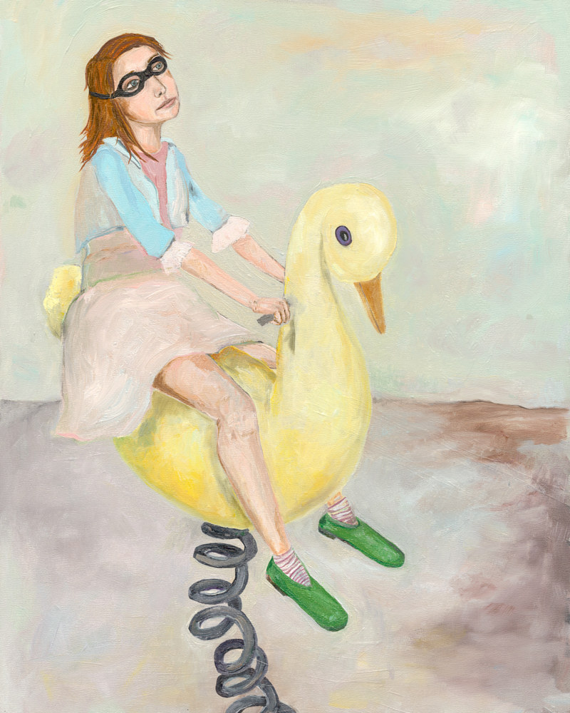 Oil painting A Girl on a Swan by Katherine Bennett