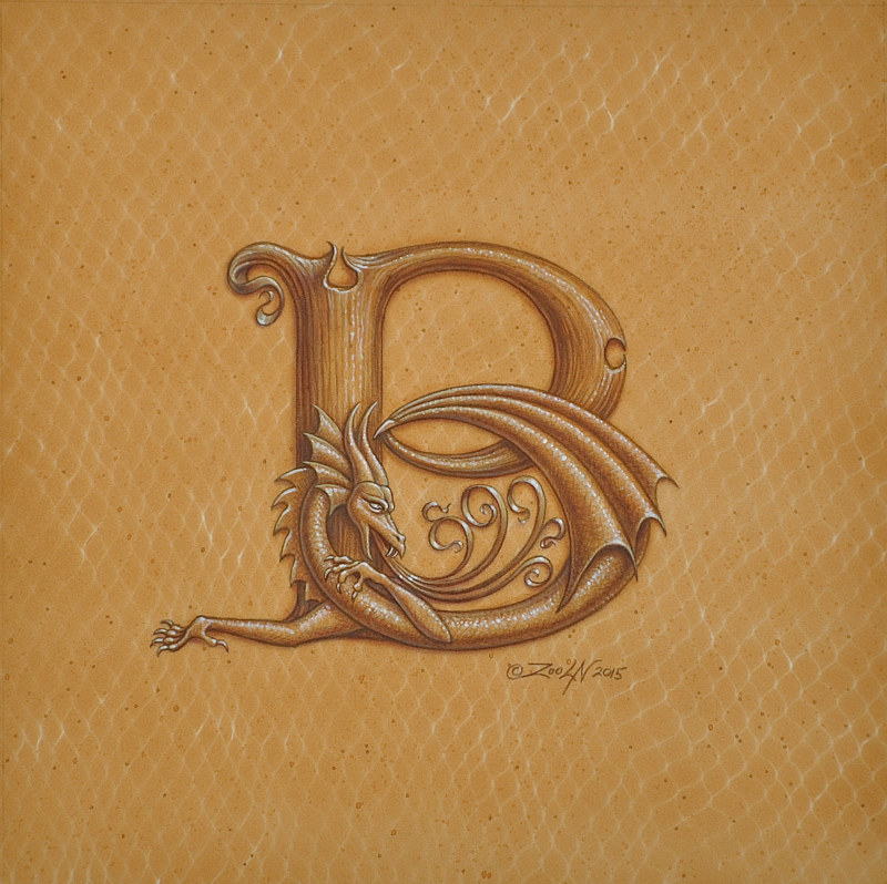 "Acrylic painting Dracoserific ""B"", Gold on Raw Gold 8x8"" square by Sue Ellen Brown"