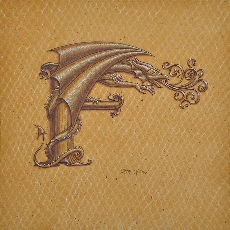 "Acrylic painting Dracoserific letter ""F"", Gold on Raw Gold 8x8"" square by Sue Ellen Brown"