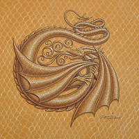 "Acrylic painting Dracoserific letter ""G"", Gold on Raw Gold 8x8"" square by Sue Ellen Brown"