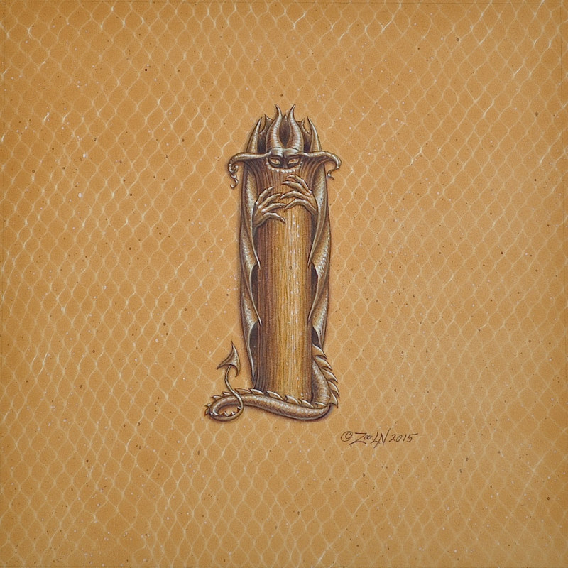"Acrylic painting Dracoserific letter ""I""-1.0, Gold on Raw Gold 8x8"" square by Sue Ellen Brown"