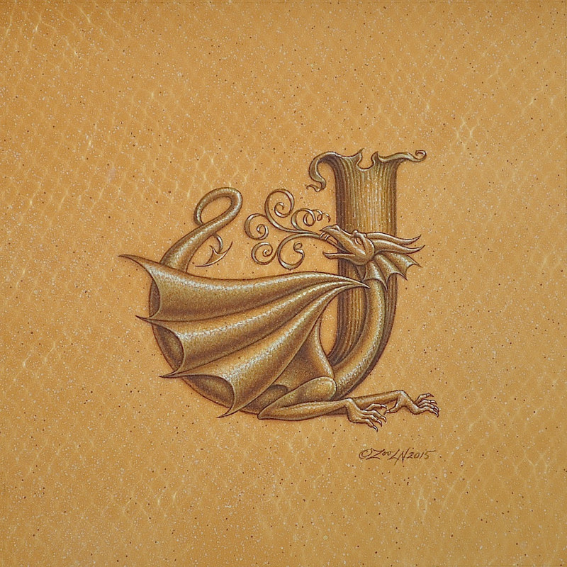 "Acrylic painting Dracoserific letter ""J"", Gold on Raw Gold 8x8"" square by Sue Ellen Brown"