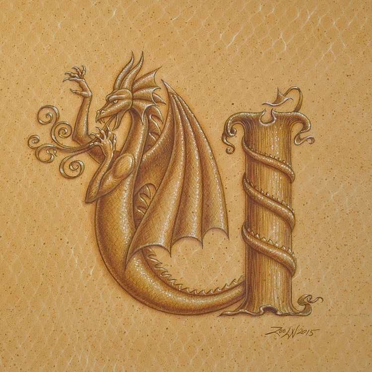 "Acrylic painting Dracoserific letter ""U"", Gold on Raw Gold 8x8"" square by Sue Ellen Brown"
