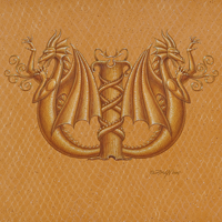 "Acrylic painting Dracoserific letter ""W""-2.0, Gold on Raw Gold 8x8"" square by Sue Ellen Brown"