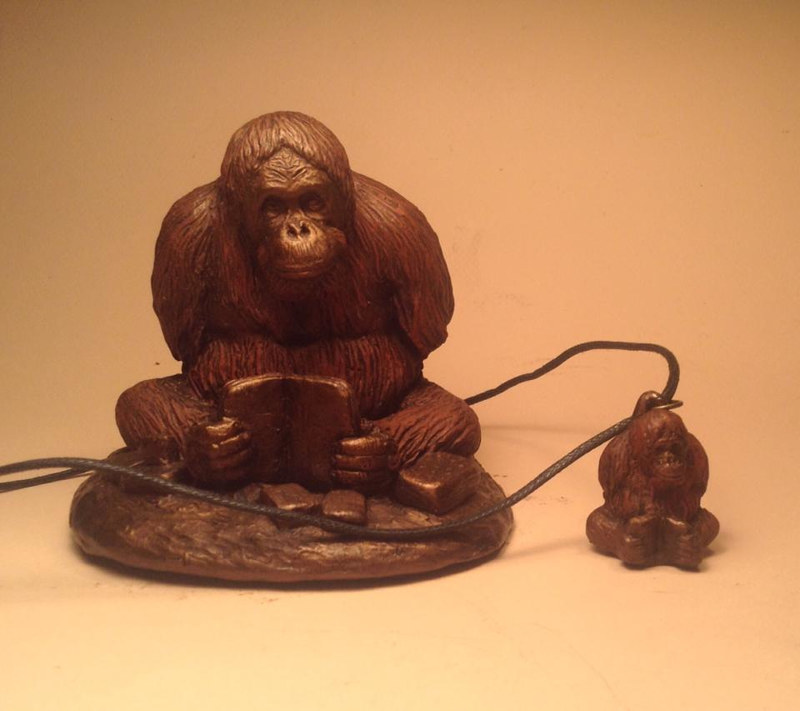 Sculpture Mari orangutan sculpture pendant combo bronze finish by Jason  Shanaman
