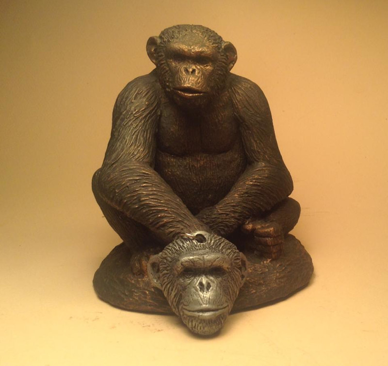 Sculpture Knuckles chimpanzee sculpture pendant combo cold cast pewter by Jason  Shanaman