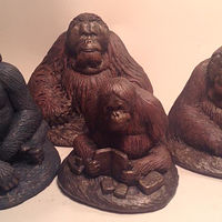 Sculpture Pongo, Christopher, Mari, Knuckles set of four center for Great Apes Sculptures by Jason  Shanaman