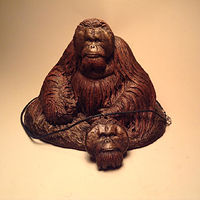 Sculpture Pongo orangutan sculpture pendant combo bronze finish by Jason  Shanaman