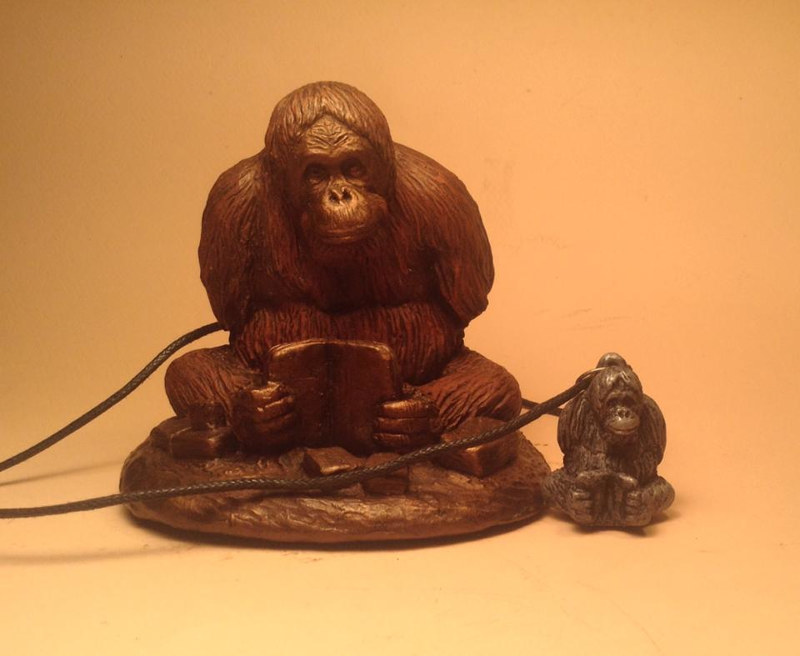 Sculpture Mari orangutan sculpture pendant combo cold cast pewter by Jason  Shanaman