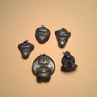 Center for great apes five pendant set NEW cold cast pewter by Jason  Shanaman