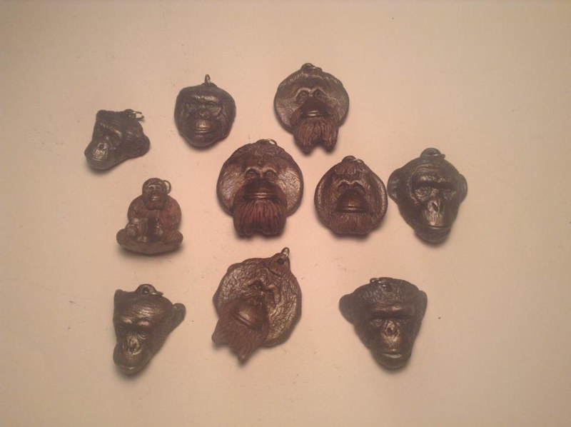 Center for Great Apes pendant set of 10 bronze finish by Jason  Shanaman