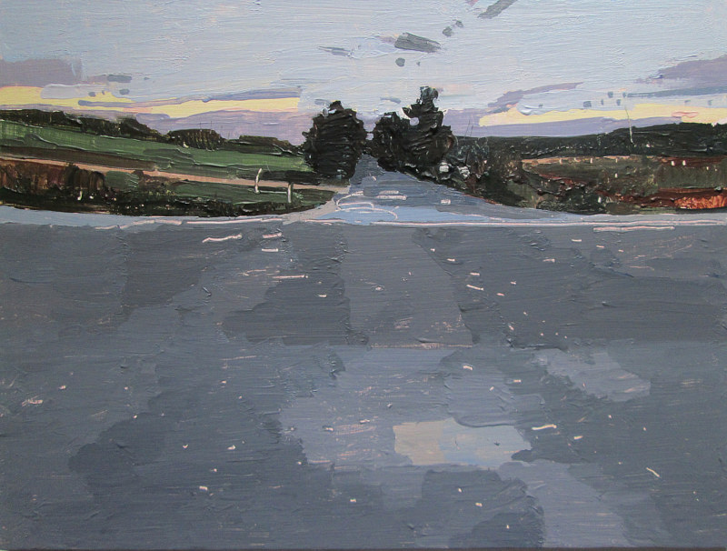 Acrylic painting Sundown, Home Line by Harry Stooshinoff