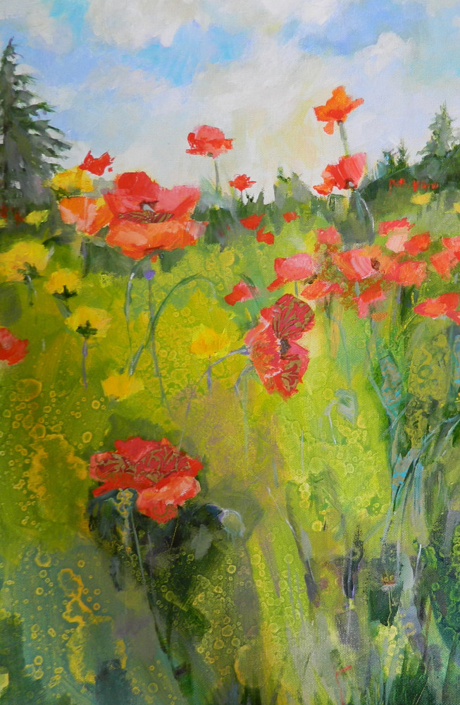 Mixed-media artwork Poppies by Marty Husted