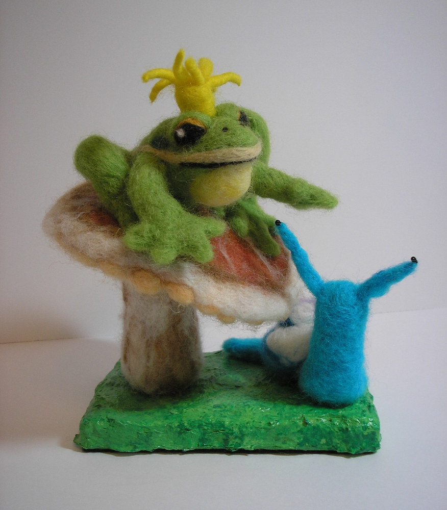 Sculpture Frog Prince with snail by Valerie Johnson