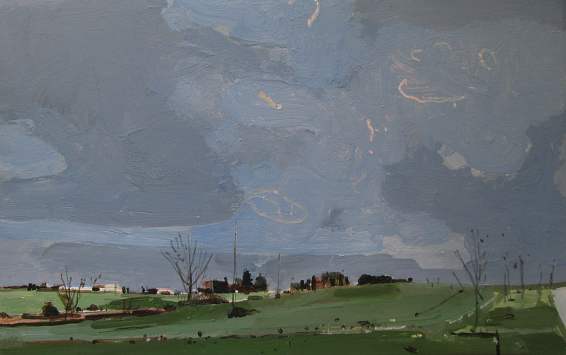 Acrylic painting November Dusk, Horse Farm by Harry Stooshinoff