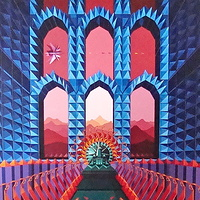 "Acrylic painting 10. ""The Throne of the Enlightened One in the Palace of the Heart""   by Jon Harris"