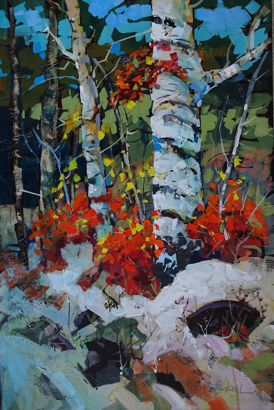 October Snowfall Acrylic 24x36 2015 by Brian  Buckrell