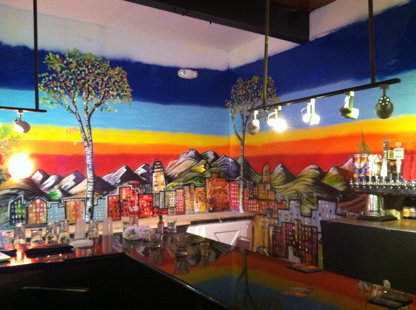 Denver Skyline Mural in Restaurant by Isaac Carpenter