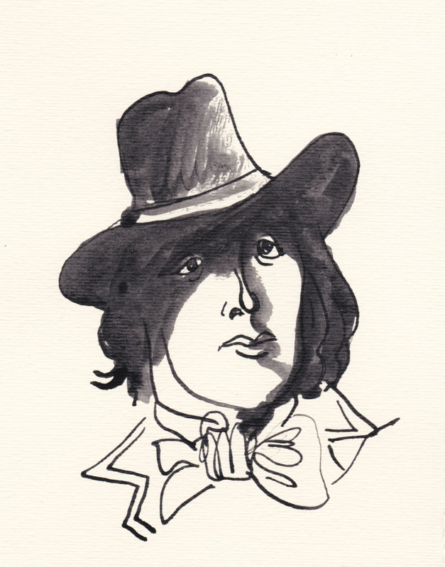 Drawing Oscar Wilde (in a hat) by Graham Hall