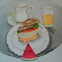 Oil painting Sister's Weekend Breakfast by Michelle Marcotte