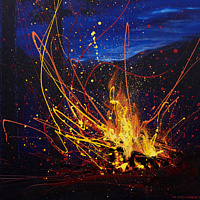 Acrylic painting Shoreline Flames by Bryan  Coombes