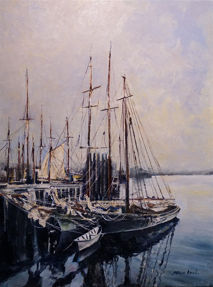 Oil painting Old Gloucester Harbor by Nella Lush