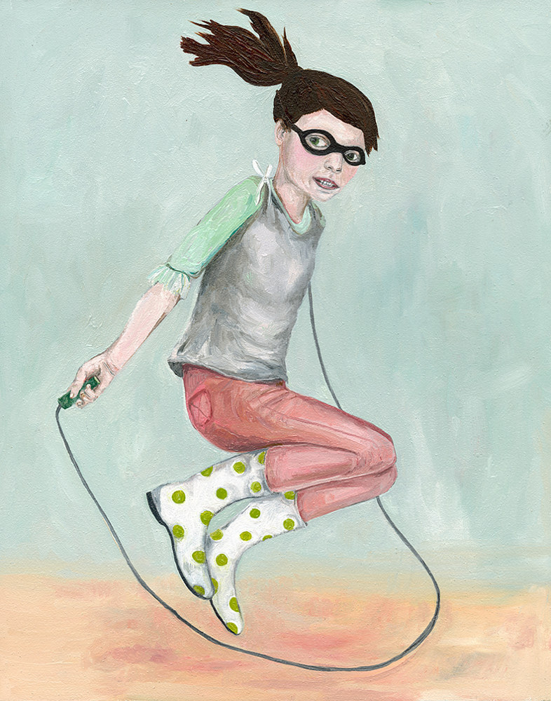 Oil painting A Girl Jumping Rope by Katherine Bennett
