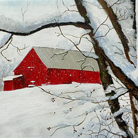 "Acrylic painting ""Red Barn"" by Agnes Friedlander"