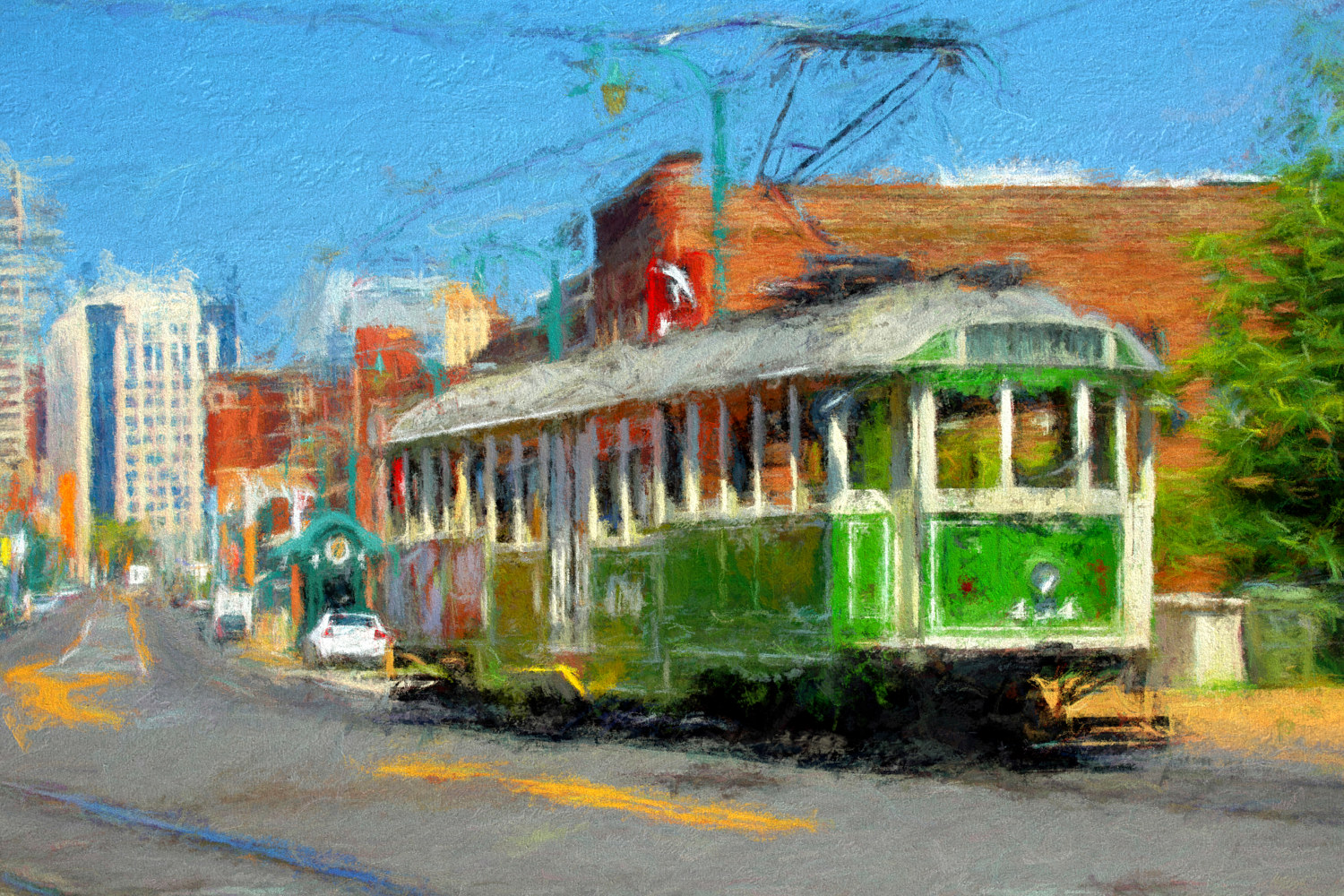 Riverfront Loop Trolley 454  - Memphis Impression by Edward Bock