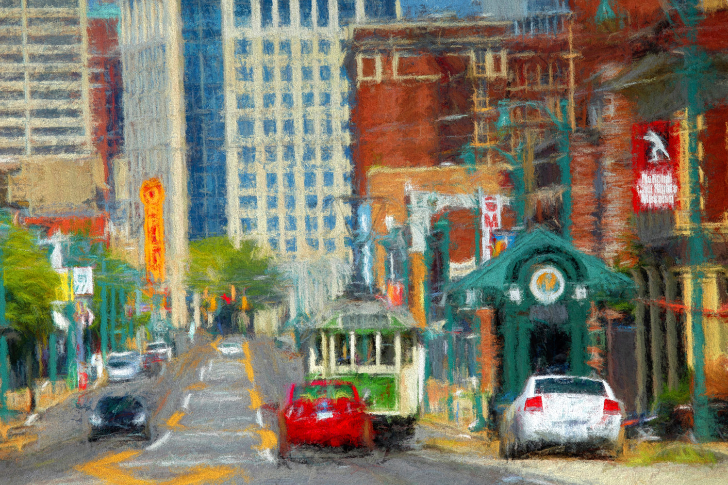 Main Street  - Memphis Impression by Edward Bock