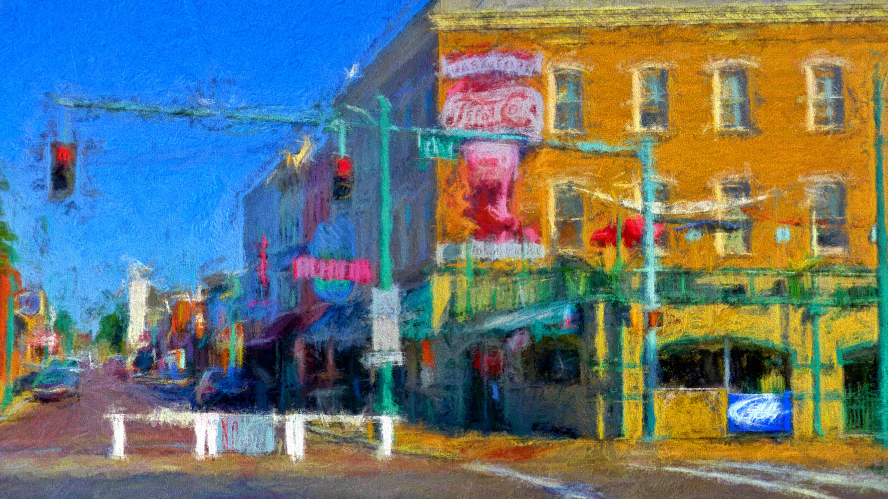3rd and Beale Street - Memphis Impression by Edward Bock