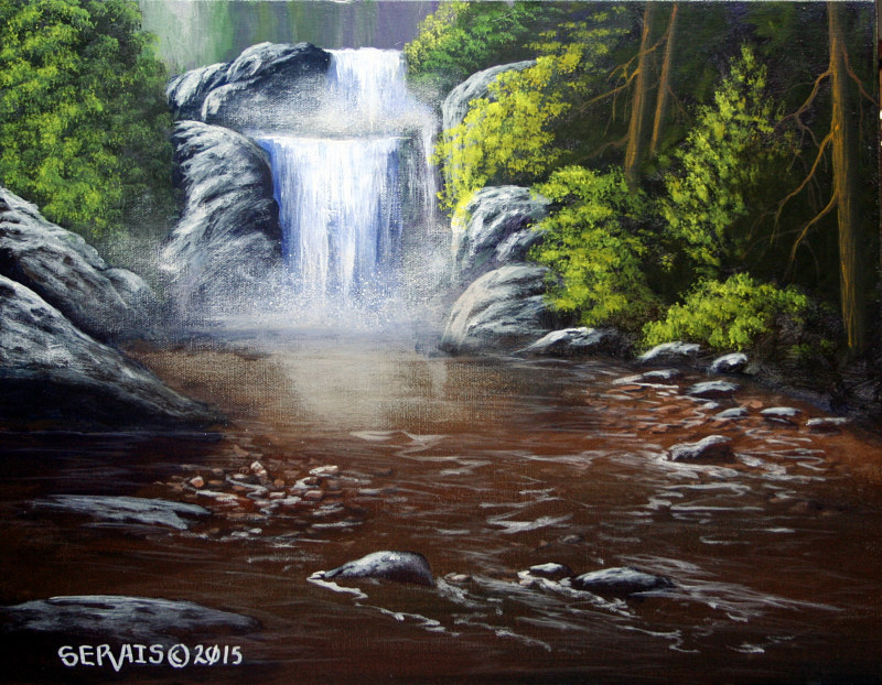 Acrylic painting The Hidden Falls by George Servais