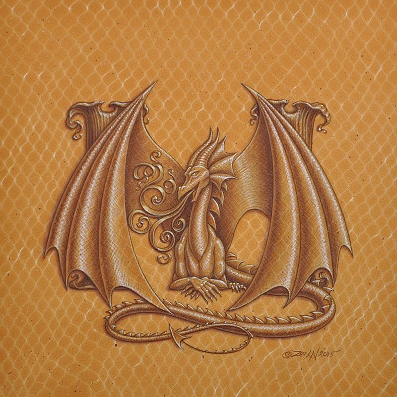 "Acrylic painting Dracoserific letter ""M"", Gold on Raw Gold 8x8"" square by Sue Ellen Brown"