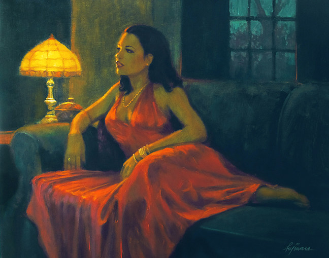 Oil painting Lady in Red by Kim Fujiwara
